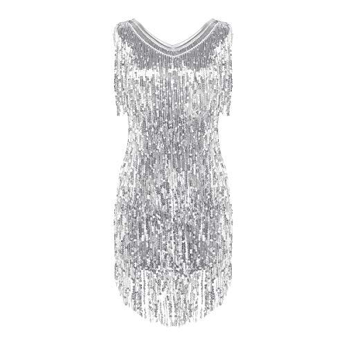 inhzoy Damen-Kleid, glitzernde Pailletten, V-Ausschnitt, ärmellos, Fransen, Ballsaal, Latin Samba, Tango, Tanzkleid Gr. X-Large, silber