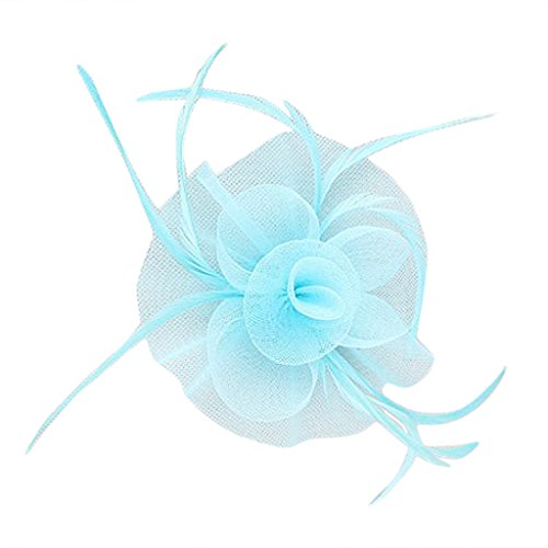 Fleur Plume Fascinateur Pince à Cheveux en Gaze Elégant Accessoire de Cheveux pour Mariée - Bleu du Ciel