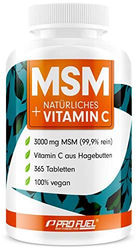 MSM 3000mg pro Tag + natürliches Vitamin C - 365 MSM Tabletten mit Methylsulfonylmethan - Kompakteres MSM Pulver als bei Kapseln - Vegan & ohne Zusatzstoffe - Made in Germany
