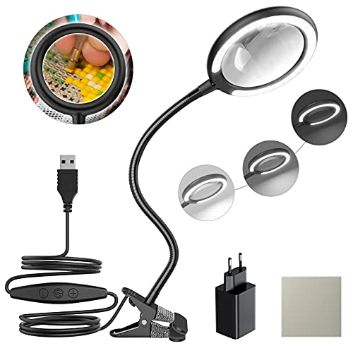 Lampada d ingrandimento a LED 3X Daylight, lente d ingrandimento a morsetto con 5 impostazioni di luce regolabili per lettura, anziani, hobby, artigianato