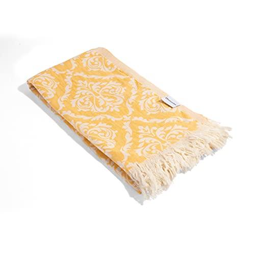 "InfuseZen Damask Turkish Towel Made from 100% Cotton - Hammam Fouta Towel Lightweight Pool, Gym, Travel Towel - Thin & Absorbent Peshtemal Beach Bath Towels – Large 65"" x 34"" (Golden)"