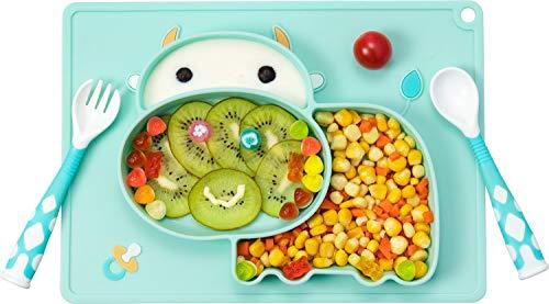 Plato de Silicona para Bebe Niños Antideslizante Mini Bebe Plato con Ventosa Placemat Silicona sin BPA y aprobado por la FDA, Aptos para Lavavajillas, Cian