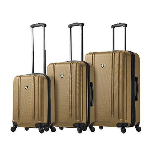 For Sale! Mia Toro Baggi Hardside Spinner Luggage 3 Piece Set, Gold, One Size