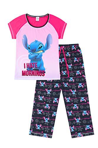 Disney Lilo and Stitch I Hate Mornings - Pigiama lungo da donna rosa 52