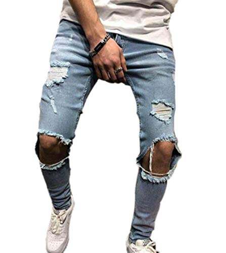 Heren Jeans Stretch Skinny Distressed Ripped Jeans Fit Moderne nonchalant heren licht geblokte knieën skinny denim broek