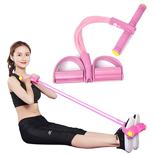Multifunctionele Resistance Training, Huis 4 Tube Been Exerciser Pull Rope Bands Yoga Fitness voetpedaal, Sit-Up Bodybuilding Expander Spieren Stretchen Weight Loss Training Device (Color : Pink)