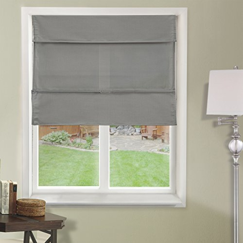 Chicology Cordless Magnetic Roman Shades / Window Blind Fabric Curtain Drape, Light Filtering, Privacy - Daily Grey, 23
