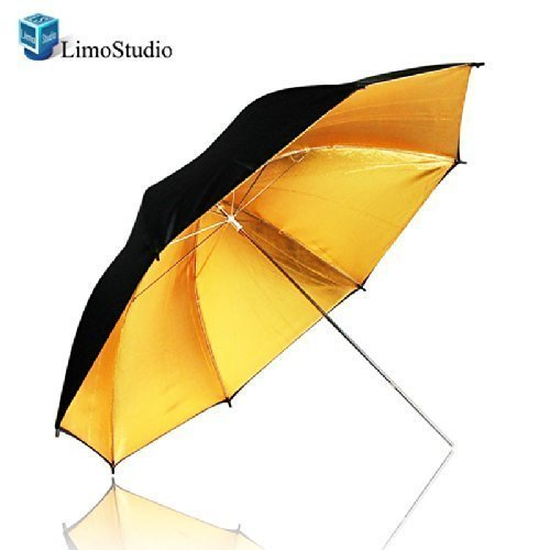 "LimoStudio 33"" Black & Gold Black/Gold Photo Studio Umbrella Photo Video Umbrella Reflector, AGG129-A"