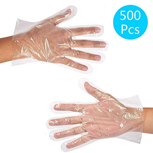 JINHEZO Disposable PE Gloves, Non-Sterile, Powder-Free, Smooth Touch, Food Service Grade, for Cleaning, Food Handling, hairdressing, party dining, car washing, etc, Large Size Clear (Pack of 500)