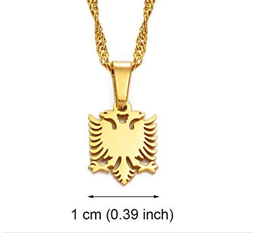 SHIZHEN Mini Collar con Colgante de águila bicéfala albanesa Oro/Plata Chapado en Oro joyería Que no se desvanece Regalo étnico-Dorado -17.7 Pulgadas