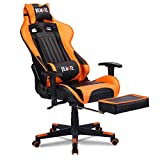 Remaxe Office Chair Large Size Gaming Chair Computer Chair Ergomonic Racing Chair with Retractable Footrest,Execultive PU Leather Headrest Lumbar Massager Cushion Swivel PC Chair for Home,Black/Orange - Best Reviews Guide
