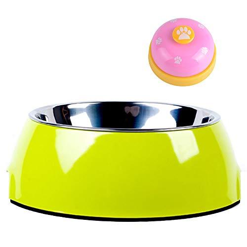 AcserGery Melamin-Napf, unifarben, für Hunde und Katzen, mit herausnehmbarem Edelstahlnapf (Grün)