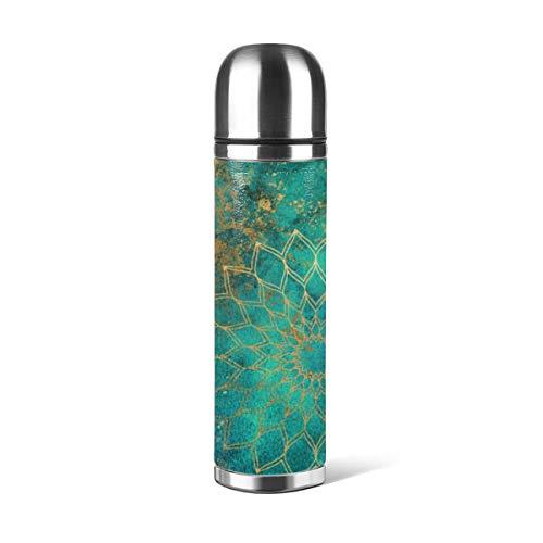Art Fan-Design - Botella de agua de acero inoxidable, diseño abstracto, color verde azulado, acuarela dorada Mandala aislada al vacío de cuero a prueba de fugas, contenedor de viaje de doble pared, termo de 500 ml