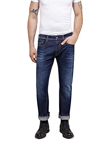 Replay Herren Rocco Tapered Fit Jeans, Blau (Dark Blue 7), W27/L30 (Herstellergröße: 27)