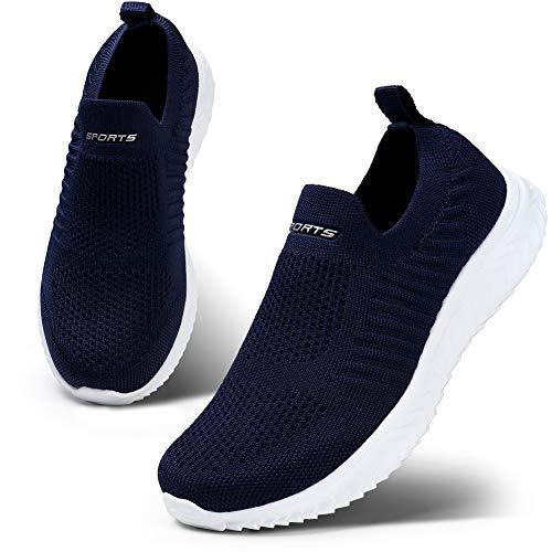 HKR Damen Slip On Sneakers Wanderschuhe Leichte Walkingschuhe Atmungsaktiv Freizeitschuhe Outdoor Gym Bequem Turnschuhe Blau 38 EU