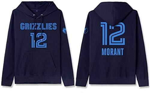Sudadera con capucha NBA Sudadera con capucha de baloncesto para hombre, Memphis Grizzlies JA Morant 12 # Entrenamiento Ropa de entrenamiento Ventiladores de manga larga Sweatshirt Suéter Unisex Mejor