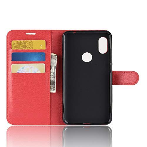 TenYll Hülle für Lenovo Z5s,Wallet Tasche PU Schutzhülle [Premium Leder] [Ultra Slim] [Card Slot] [Ständer] Flip Wallet Hülle Etui für Lenovo Z5s -rot