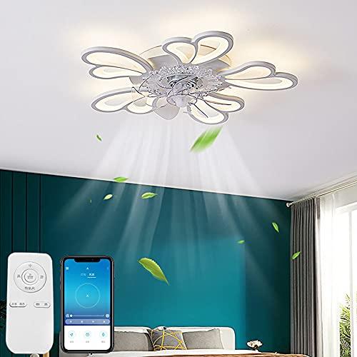 Ventilador De Techo Regulable Con Lámpara Creatividad Moderno Ultra Silencioso Luz De Techo Con Ventilador De Control Remoto Lámpara De Techo Comedor Dormitorio Ventilador Invisible Luz