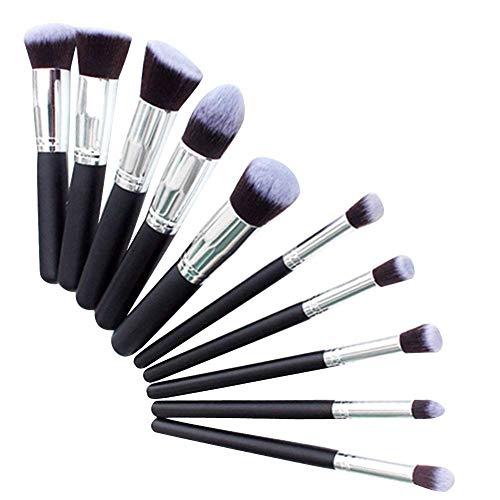 Beito 10 PCS Kit De Brosses De Maquillage Premium Synthétique Kabuki Cosmétiques Fondation Mélange Brosse Blush Eyeliner Visage Poudre Brosse Maquillage Brosse Kit (Noir)