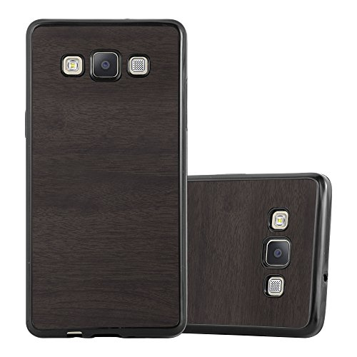 Cadorabo Funda para Samsung Galaxy A5 2015 en Wooden Negro - Cubierta Proteccíon de Silicona TPU Delgada e Flexible con Antichoque - Gel Case Cover Carcasa Ligera
