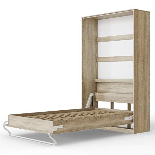 SMARTBett Standard 120x200 Vertikal Eiche Sonoma Schrankbett | ausklappbares Wandbett, ideal geeignet als Wandklappbett fürs Gästezimmer, Büro, Wohnzimmer, Schlafzimmer