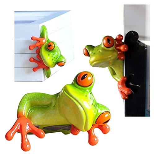 Figura de rana en miniatura de resina creativa artesanal en 3D, para oficina, escritorio, decoración de ordenador