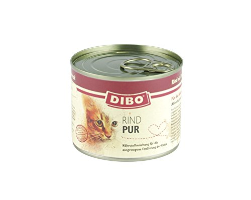 DIBO CAT RIND, 200g-Dose aus ausgesuchtem Rind hergestellt und mit Brunnenkresse und Lachsöl verfeinert