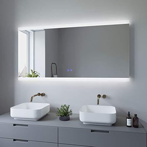 AQUABATOS 140x70 cm Badspiegel mit Beleuchtung Badezimmerspiegel Lichtspiegel LED Wandspiegel Energiesparend. Touch-Schalter Dimmbar + Kaltweiß 6400K + Warmweiß 3000K + Spiegelheizung + IP44 + CE