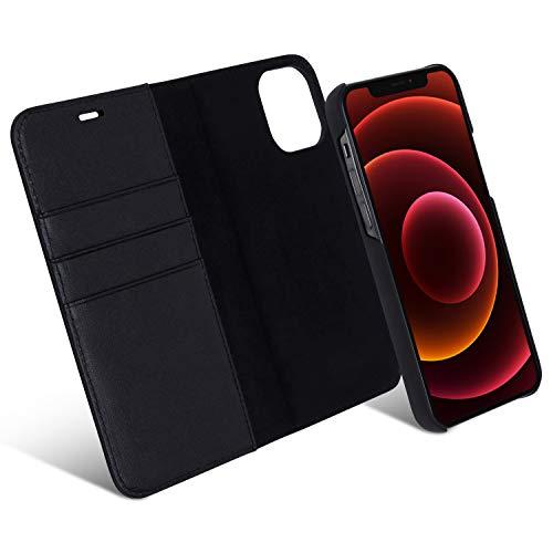 iPhone 12 / iPhone 12 Pro Funda Case Cartera Desmontable CASEZA Zurich 2' Negra - Piel PU Vegana Premium 2 en 1 Tipo Libro Cierre magnético para Apple iPhone 12/12 Pro (6.1')
