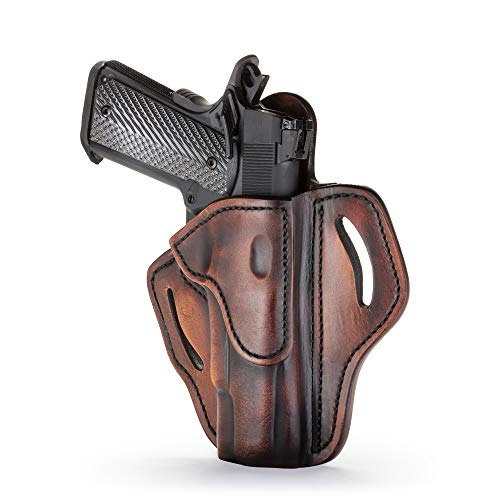 "1791 GUNLEATHER 1911 Holster, Right Hand OWB Leather Gun Holster for Belts fits All 1911 Models with 4"" and 5"" Barrels (Vintage)"