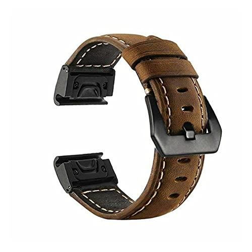 XIXI-Home Banda de Cuero Strap Strap Fit para Garmin Fenix 5 / 5X / 5S Plus 6 / 6X / 6s Pro Smart Brazalet 20 22 22 26mm Strap de Pulsera de Ajuste rápido rápido