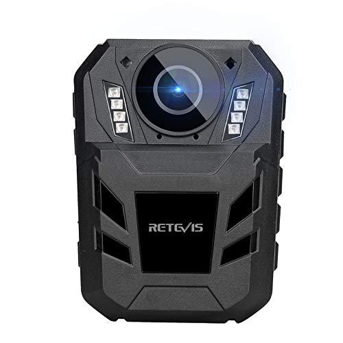 Retevis RT77B Körperkamera, am Körper Getragene Kamera 1440P 4000mAh FHD-Videokamera, Tragbare IP54-Körperkamera mit IR-Nachtsicht, Tragbare 170° -Kamera für Verkehr, Polizei (Schwarz, 32 GB)