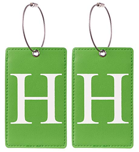 2 Pack Initial Luggage Tag Green by Gostwo Fully Bendable Tags Stainless Steel Loop (H)
