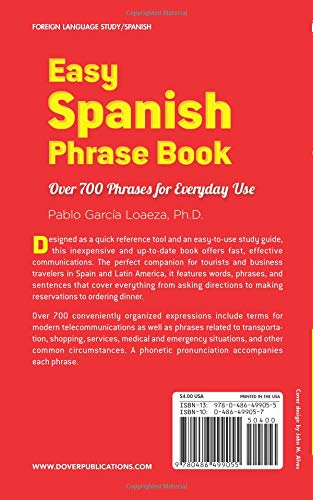 Easy Spanish Phrase Book NEW EDITION: Over 700 Phrases for Everyday Use (Dover Language Guides Spanish)