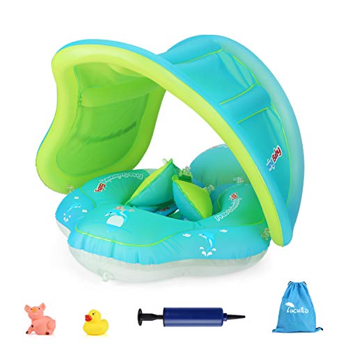 Luchild Aufblasbarer Baby Schwimmhilfen,Baby Schwimmring Schwimmtrainer mit abnehmbarem Sonnendach Schwimmer Schwimmreifen mit Sonnenschutz für Kinder ab 6 Monaten (Blau mit abnehmbarem Sonnendach)