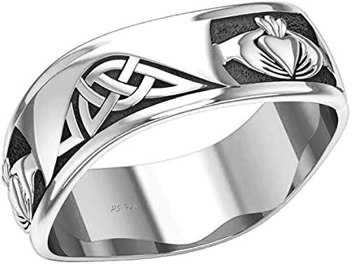 US Jewels Men's 0.925 Sterling Silver Modern Irish Celtic Claddagh & Knot Ring Band, 10.5