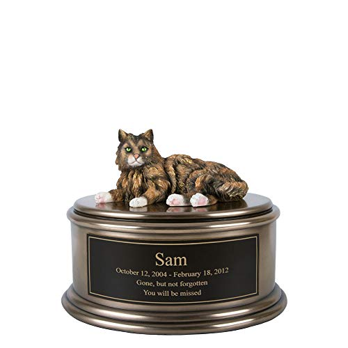 Perfect Memorials Custom Engraved Hand Painted Tabby Cat Figurine Cremation Urn