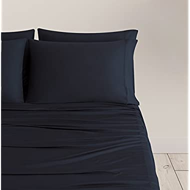 SHEEX BREEZY COOLING Sheet Set with 2 Pillowcases, Ultra-Lightweight, Breathable, Silky-Soft Fabric for a Cool and Comfortable Night's Sleep, Black (King)