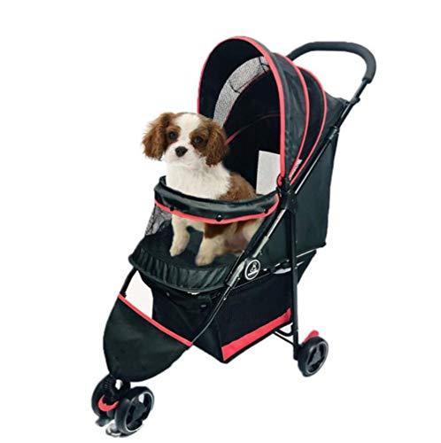 Cochecito para Mascotas Carro Cochecito del animal doméstico de 3 ruedas Viajes cubierta de la lluvia carro de perros cachorros desmontable Cesta portátiles jogging cochecito plegable para Perro Gatos