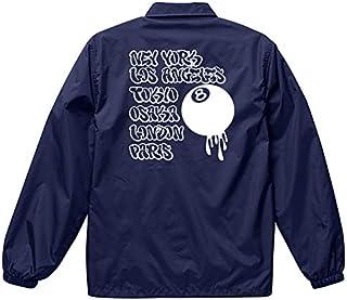 301-sanmaruichi- ジャケット メンズ コーチジャケット 撥水性 NO BRAND グラフィックアート NY LA 東京 大阪 LONDON PARIS エイトボール ストリート 防風 ナイロン アウター