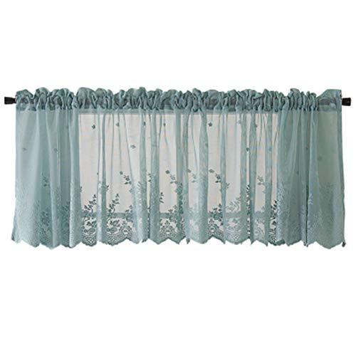 VOSAREA Tende di Livello Window Treatment Valance Sheer Window mantovana per Cucina Bagno Camera da Letto Soggiorno 74x61cm Blu