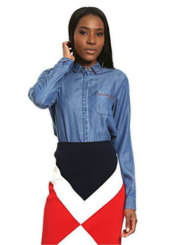 Tommy Hilfiger Glatte weiche Lyocell jeanshemd Größe M