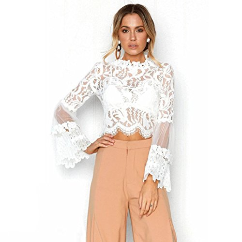 QinMM Blusa Corta de Encaje Mujer, Camiseta Transparente Camisa de Manga Larga Tops (Blanco, M)