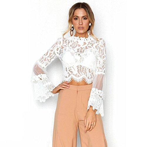QinMM Blusa Corta de Encaje Mujer, Camiseta Transparente Camisa de Manga Larga Tops (Blanco, S)