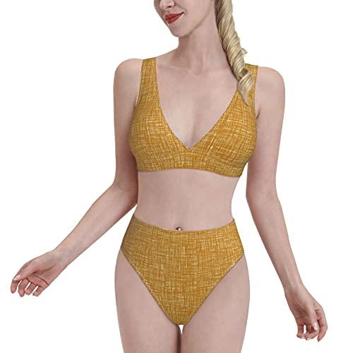 Pintado de lona de oro arenisca desierto de las mujeres Split traje de baño de cintura alta conjuntos de bikini de dos piezas