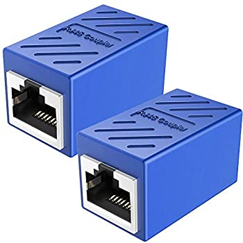 RJ45 Coupler Ethernet Extension PLUSPOE Network Connectors for Cat7/Cat6/Cat5e/Cat5 Ethernet Cable - Network Cable Coupler Female to Female  Blue 2 Pack