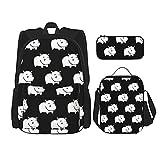 Lindas mochilas de rinoceronte para la escuela, niños y niñas, juego de mochila de 3 piezas con bolsa de almuerzo estuche