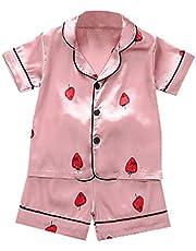 Aislor Pijamas Bebé Niñas Pijama de Seda Cómodo Verano Ropa de Dormir Dos Piezas para Recien Nacidos Pijama Estampado de Dibujos Lindos Sleepwear