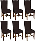 Bellboni Stuhlhussen braun, 6er Pack, hochwertige Stuhlbezüge, Stuhlüberzüge, passend für viele...