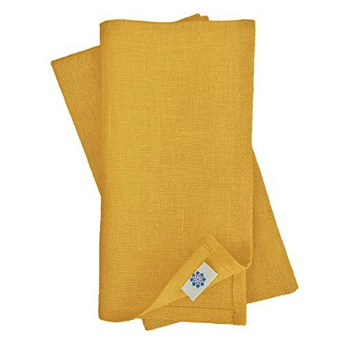 Linen & Cotton Set de 4 Servilletas de Tela Hygge - 100% Lino, Amarillo Mostaza (32 x 32 cm) Cuadradas Lavable para Hogar Cocina Comedor Mesa de Centro Cumpleaños Boda Navidad Eventos